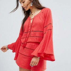 Free People Red Bell Sleeve crop